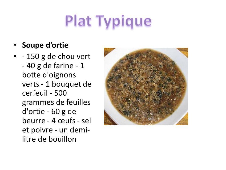 Soupe dortie - 150 g de chou vert - 40 g de farine - 1 botte d'oignons verts - 1 bouquet de cerfeuil - 500 grammes de feuilles d'ortie - 60 g de beurr