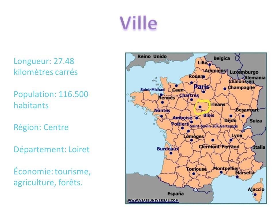 Longueur: 27.48 kilomètres carrés Population: 116.500 habitants Région: Centre Département: Loiret Économie: tourisme, agriculture, forêts.