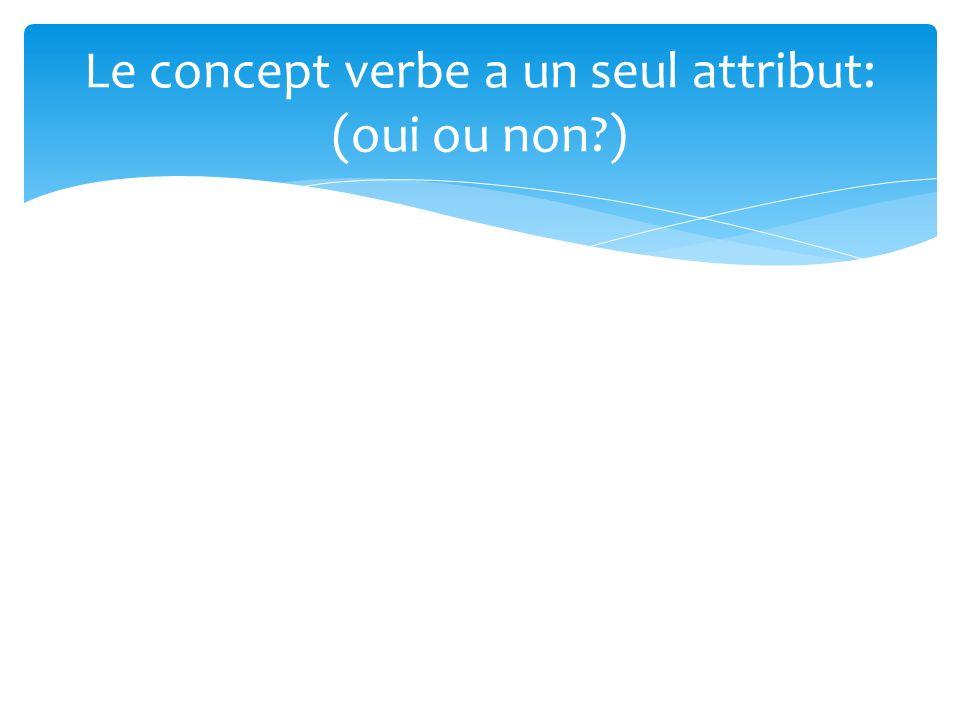 Le concept verbe a un seul attribut: (oui ou non?)