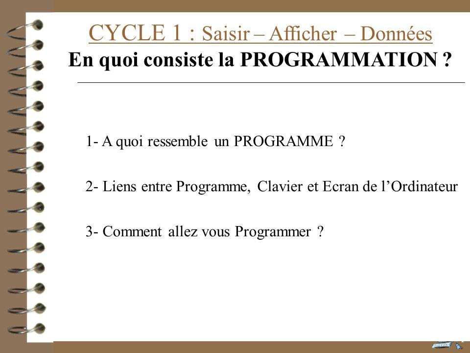 CYCLE 1 : Saisir – Afficher – Données En quoi consiste la PROGRAMMATION ? 1- A quoi ressemble un PROGRAMME ? 2- Liens entre Programme, Clavier et Ecra