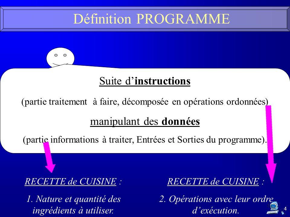 4 Définition PROGRAMME Suite dinstructions (partie traitement à faire, décomposée en opérations ordonnées) manipulant des données (partie informations à traiter, Entrées et Sorties du programme).