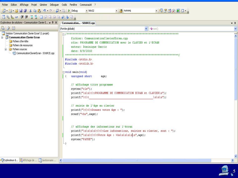 Le programme saisit des informations sur lutilisateur au clavier, puis réaffiche ces informations sur lécran de lordinateur.
