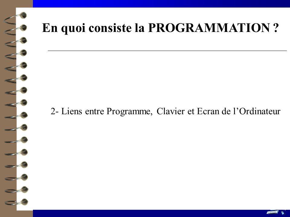 En quoi consiste la PROGRAMMATION ? 2- Liens entre Programme, Clavier et Ecran de lOrdinateur 7