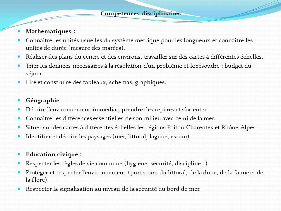 Compétences disciplinaires Mathématiques : Connaître les unités usuelles du système métrique pour les longueurs et connaître les unités de durée (mesu