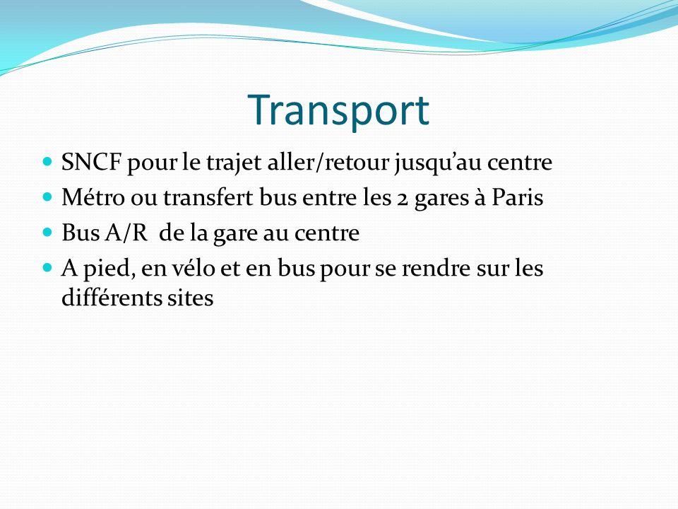 Transport SNCF pour le trajet aller/retour jusquau centre Métro ou transfert bus entre les 2 gares à Paris Bus A/R de la gare au centre A pied, en vél