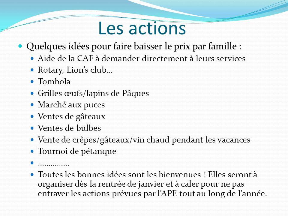 Les actions Quelques idées pour faire baisser le prix par famille : Aide de la CAF à demander directement à leurs services Rotary, Lions club… Tombola