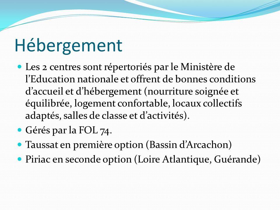 Hébergement Les 2 centres sont répertoriés par le Ministère de lEducation nationale et offrent de bonnes conditions daccueil et dhébergement (nourritu