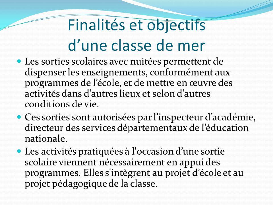 Finalités et objectifs dune classe de mer Les sorties scolaires avec nuitées permettent de dispenser les enseignements, conformément aux programmes de