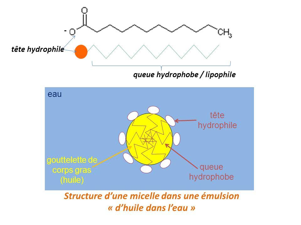 Structure dune micelle dans une émulsion « dhuile dans leau » eau gouttelette de corps gras (huile) tête hydrophile queue hydrophobe queue hydrophobe