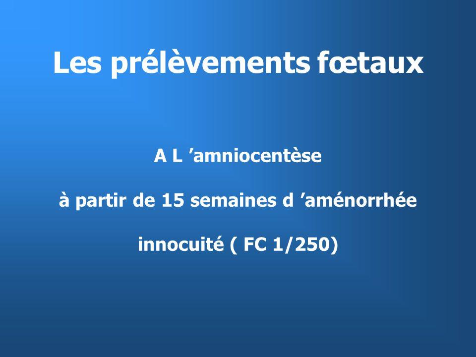 Risque de trisomie 21 en fonction de l âge maternel 30 ans 1/1000 35 ans 1/300 38 ans 1/100 En France, indication à partir de 38 ans : 25% des enfants trisomiques 21 dépistés