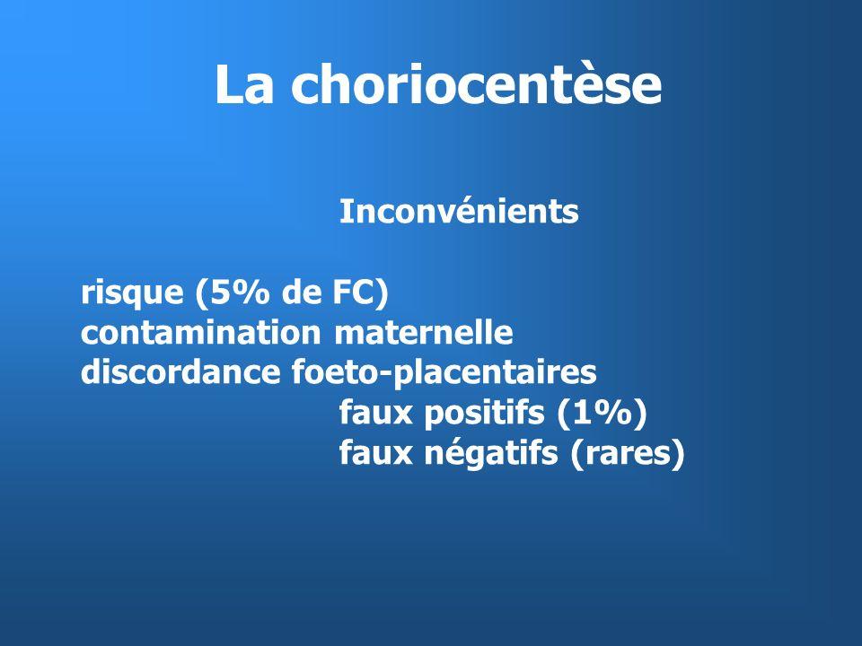 Sensibilité de dépistage de la trisomie 21 (5 % de prélèvements) Années 70 âge maternel : 30 % Années 80 âge maternel + dosages sériques maternels :70% notion de dépistage en population générale