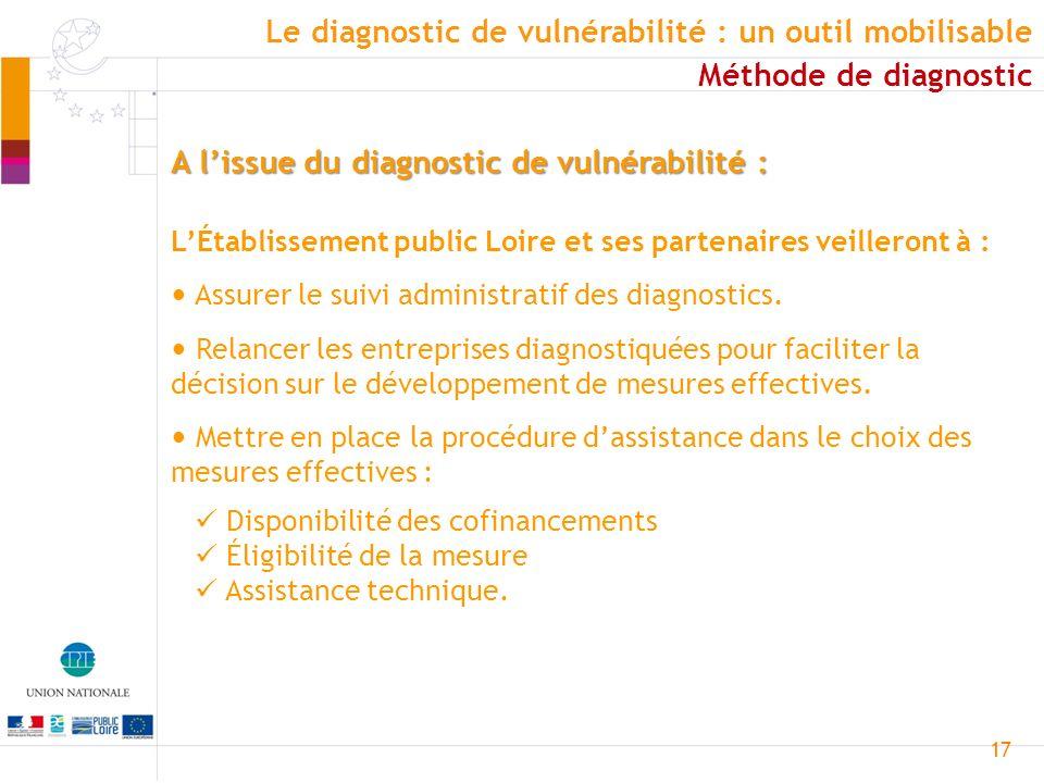 17 A lissue du diagnostic de vulnérabilité : LÉtablissement public Loire et ses partenaires veilleront à : Assurer le suivi administratif des diagnost