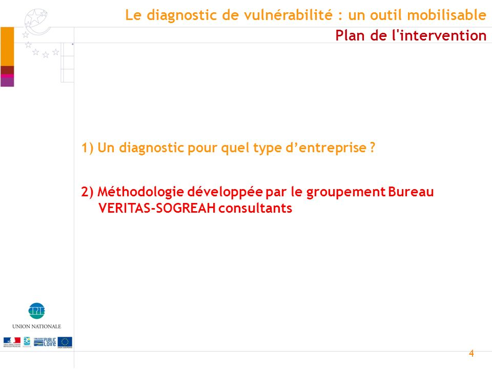 4 Le diagnostic de vulnérabilité : un outil mobilisable Plan de l intervention 1) Un diagnostic pour quel type dentreprise .