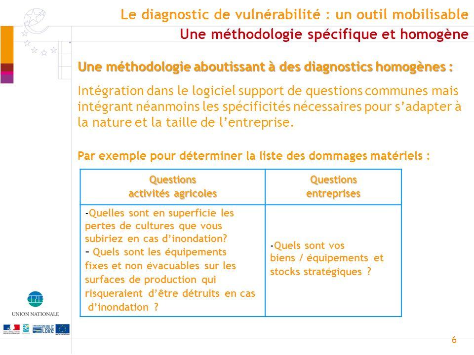 6 Une méthodologie aboutissant à des diagnostics homogènes : Intégration dans le logiciel support de questions communes mais intégrant néanmoins les s