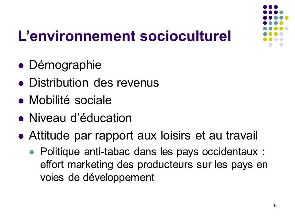 16 Lenvironnement socioculturel Démographie Distribution des revenus Mobilité sociale Niveau déducation Attitude par rapport aux loisirs et au travail
