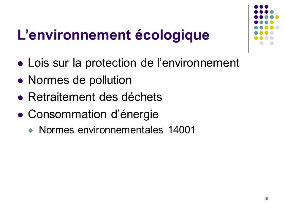18 Lenvironnement écologique Lois sur la protection de lenvironnement Normes de pollution Retraitement des déchets Consommation dénergie Normes enviro