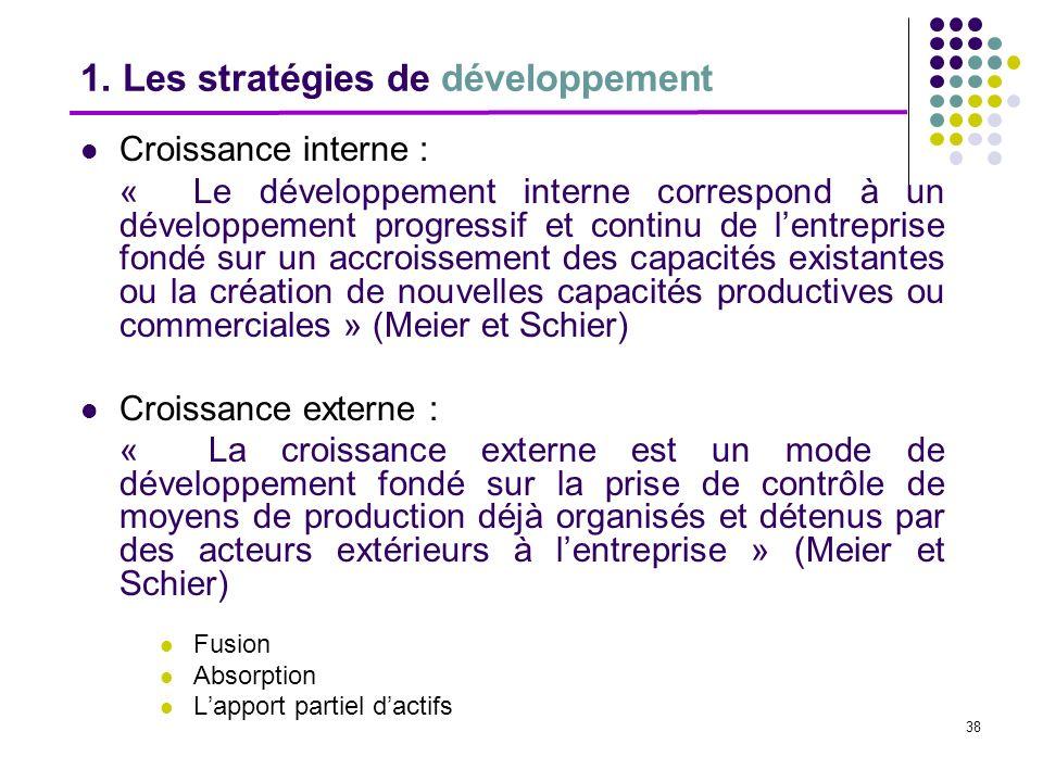 38 1. Les stratégies de développement Croissance interne : « Le développement interne correspond à un développement progressif et continu de lentrepri