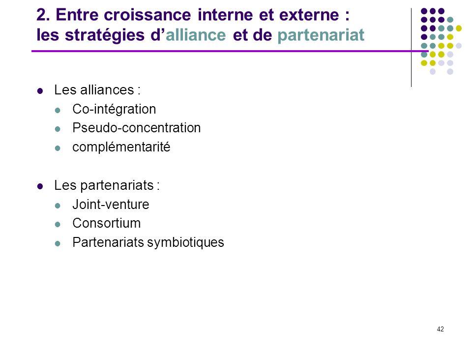 42 2. Entre croissance interne et externe : les stratégies dalliance et de partenariat Les alliances : Co-intégration Pseudo-concentration complémenta