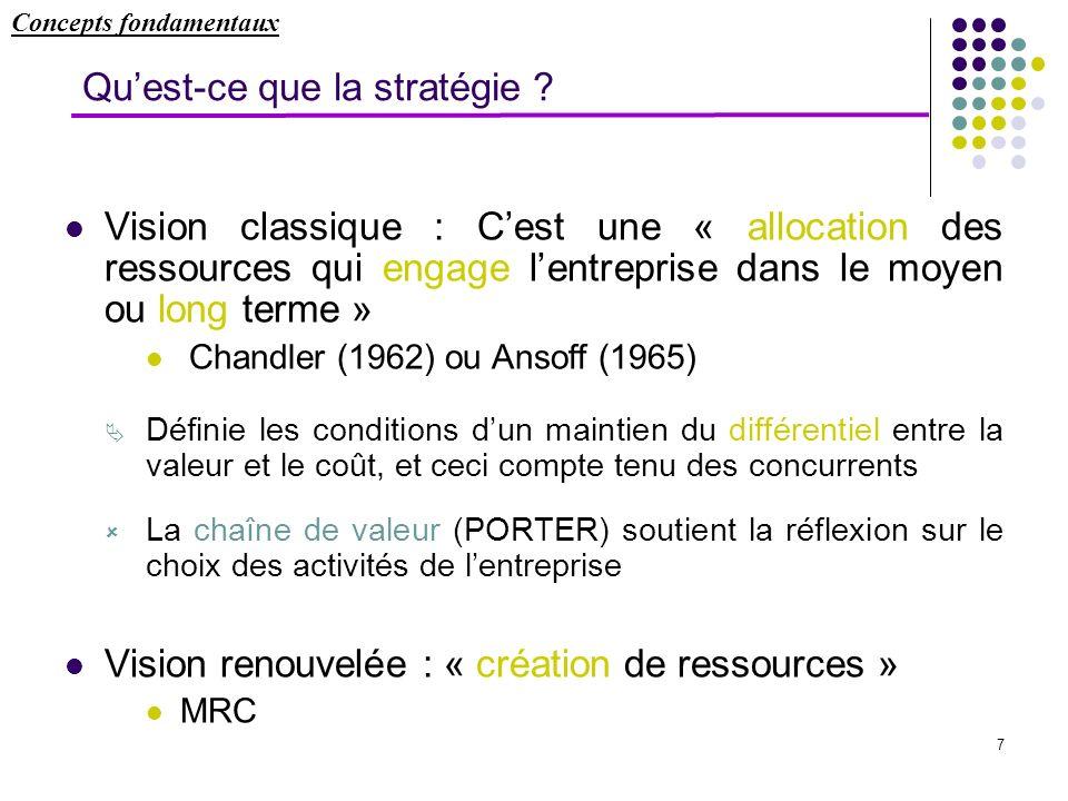 7 Quest-ce que la stratégie ? Vision classique : Cest une « allocation des ressources qui engage lentreprise dans le moyen ou long terme » Chandler (1