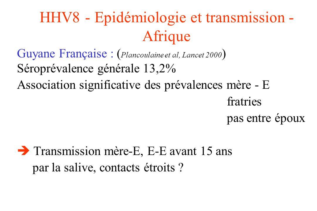 HHV8 - Epidémiologie et transmission - Afrique Guyane Française : ( Plancoulaine et al, Lancet 2000 ) Séroprévalence générale 13,2% Association signif