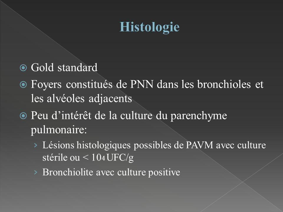 Gold standard Foyers constitués de PNN dans les bronchioles et les alvéoles adjacents Peu dintérêt de la culture du parenchyme pulmonaire: Lésions his