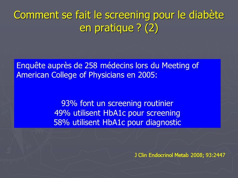 Comment se fait le screening pour le diabète en pratique ? (2) Enquête auprès de 258 médecins lors du Meeting of American College of Physicians en 200