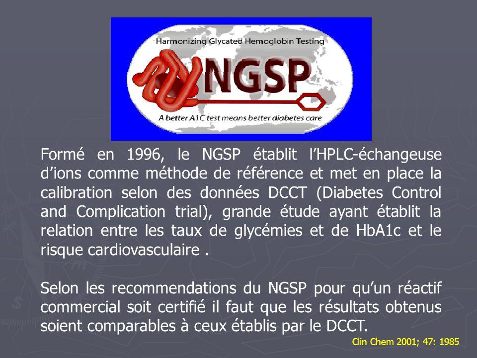Formé en 1996, le NGSP établit lHPLC-échangeuse dions comme méthode de référence et met en place la calibration selon des données DCCT (Diabetes Contr