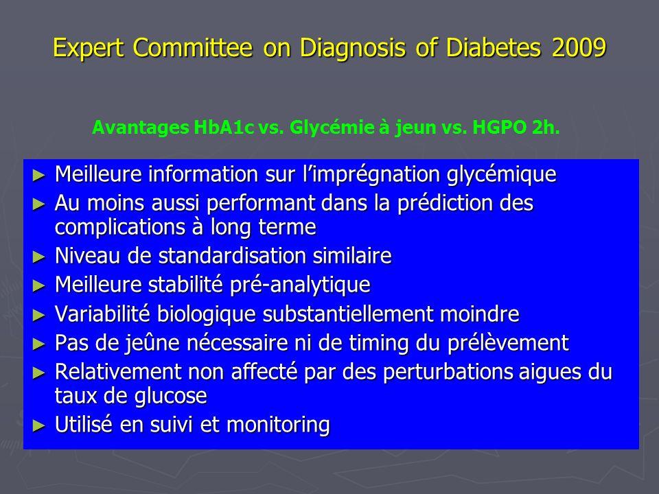 Expert Committee on Diagnosis of Diabetes 2009 Meilleure information sur limprégnation glycémique Meilleure information sur limprégnation glycémique A