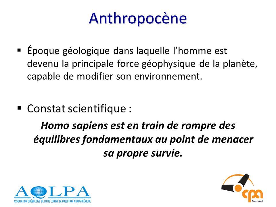 Anthropocène Époque géologique dans laquelle lhomme est devenu la principale force géophysique de la planète, capable de modifier son environnement.