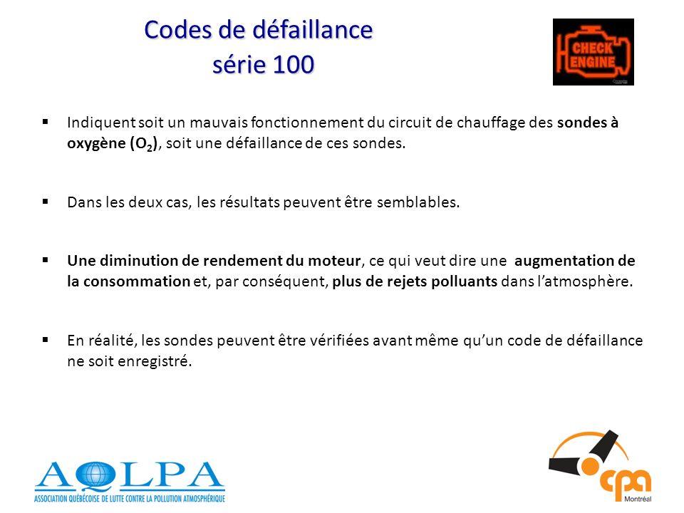 Codes de défaillance série 100 Indiquent soit un mauvais fonctionnement du circuit de chauffage des sondes à oxygène (O 2 ), soit une défaillance de ces sondes.