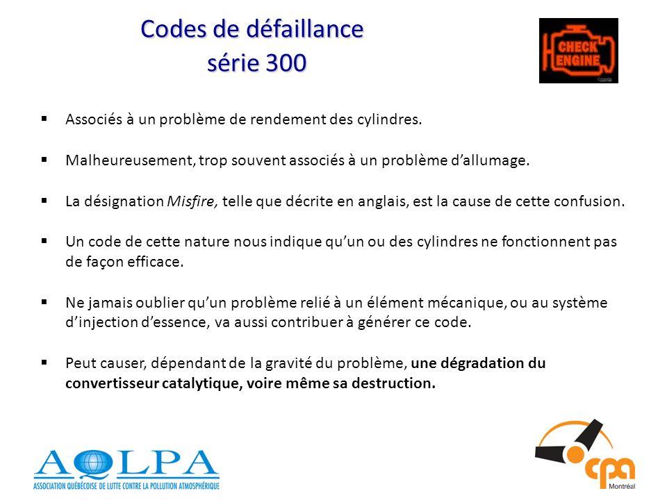 Codes de défaillance série 300 Associés à un problème de rendement des cylindres.