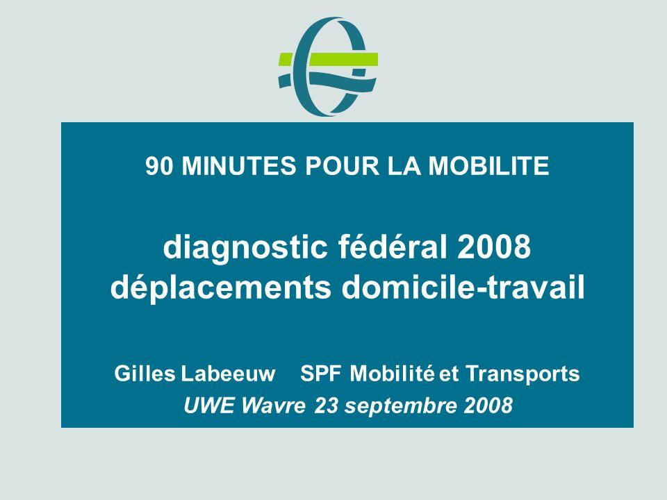 90 MINUTES POUR LA MOBILITE diagnostic fédéral 2008 déplacements domicile-travail Gilles Labeeuw SPF Mobilité et Transports UWE Wavre 23 septembre 2008