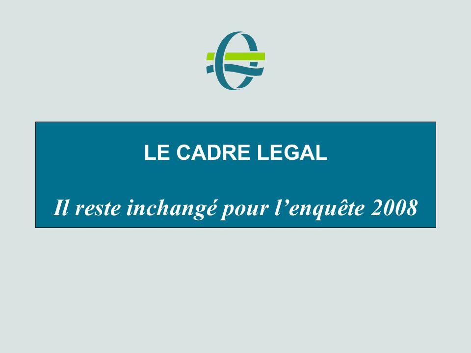 LE CADRE LEGAL Il reste inchangé pour lenquête 2008