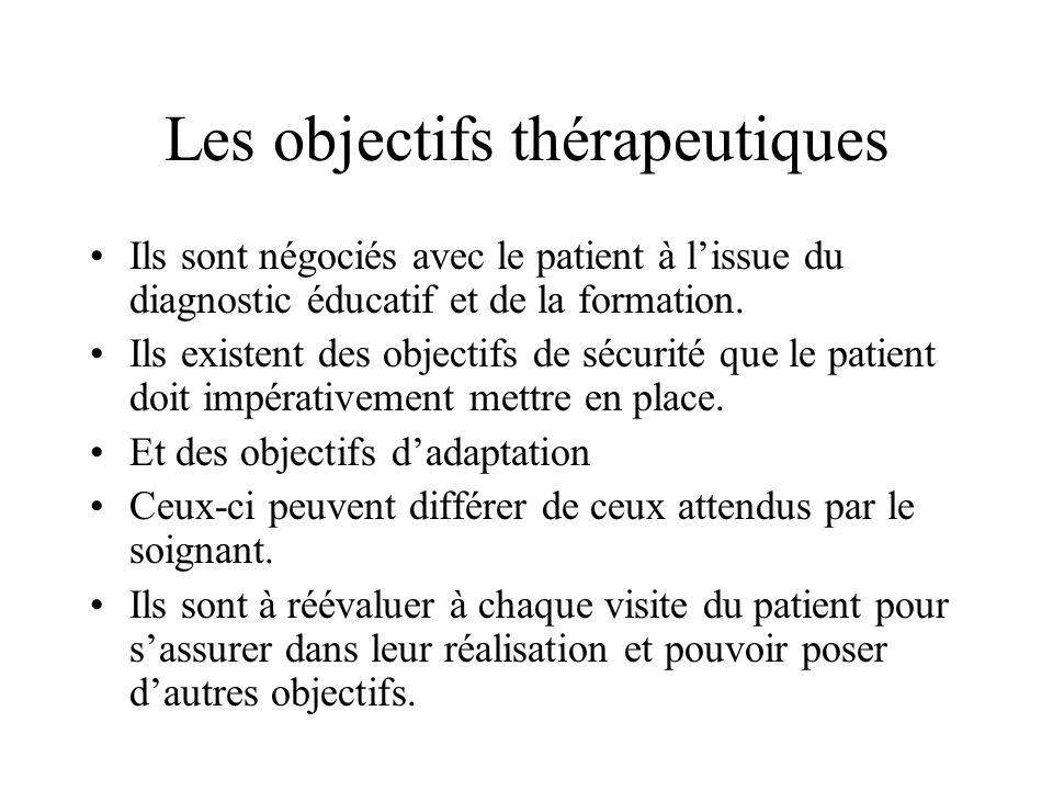 Les objectifs thérapeutiques Ils sont négociés avec le patient à lissue du diagnostic éducatif et de la formation. Ils existent des objectifs de sécur