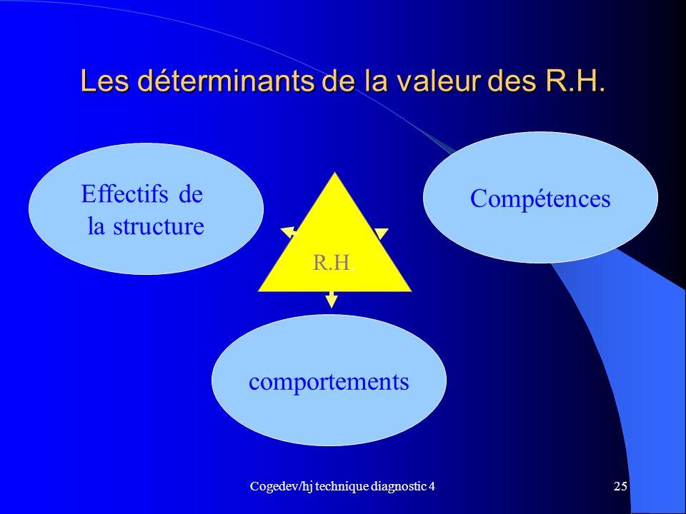 Cogedev/hj technique diagnostic 425 Les déterminants de la valeur des R.H. Effectifs de la structure comportements Compétences R.H.
