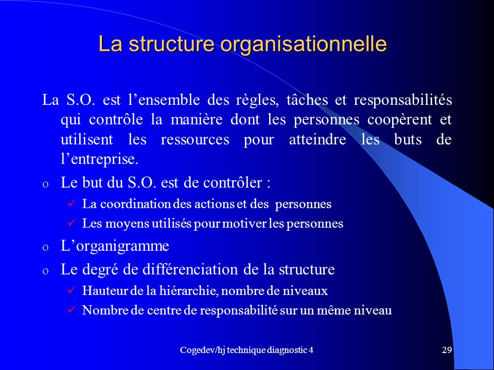 Cogedev/hj technique diagnostic 429 La structure organisationnelle La S.O.