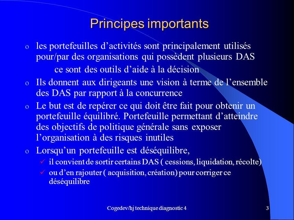 Cogedev/hj technique diagnostic 43 Principes importants o les portefeuilles dactivités sont principalement utilisés pour/par des organisations qui pos