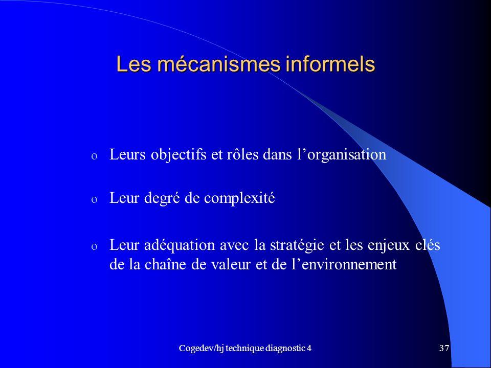 Cogedev/hj technique diagnostic 437 Les mécanismes informels o Leurs objectifs et rôles dans lorganisation o Leur degré de complexité o Leur adéquatio