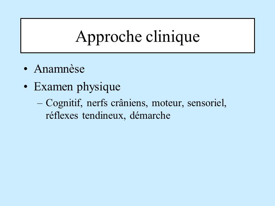 Approche clinique Anamnèse Examen physique –Cognitif, nerfs crâniens, moteur, sensoriel, réflexes tendineux, démarche