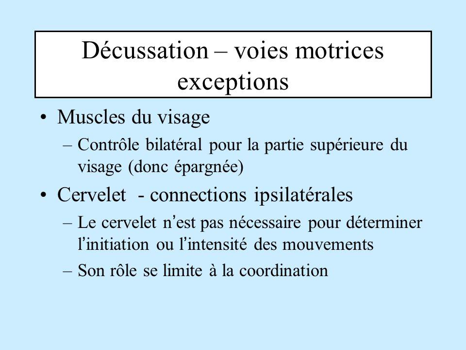 Décussation – voies motrices exceptions Muscles du visage –Contrôle bilatéral pour la partie supérieure du visage (donc épargnée) Cervelet - connectio