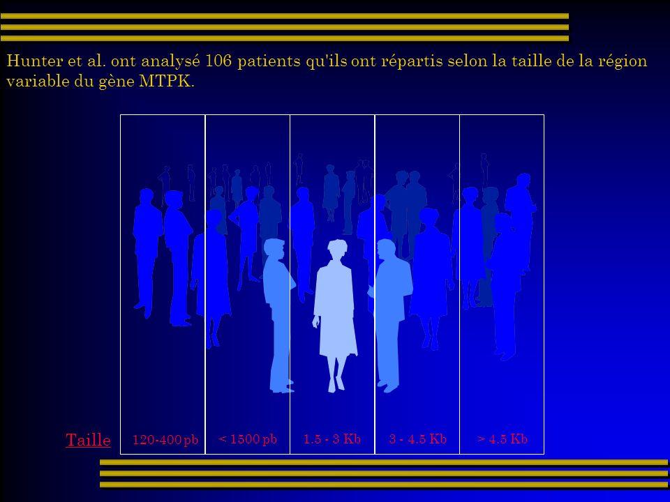 Hunter et al. ont analysé 106 patients qu'ils ont répartis selon la taille de la région variable du gène MTPK. 120-400 pb Taille < 1500 pb 1.5 - 3 Kb
