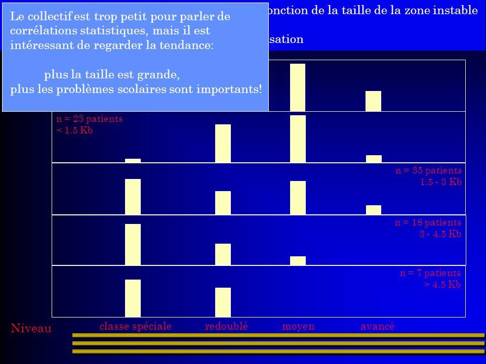 Voici la répartition de ces mêmes patients en fonction de la taille de la zone instable et du degré de scolarisation n = 23 patients 120-400 pb n = 23