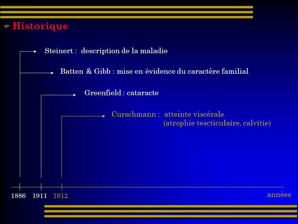 19111912 1886 Steinert : description de la maladie Batten & Gibb : mise en évidence du caractère familial Greenfield : cataracte Curschmann : atteinte