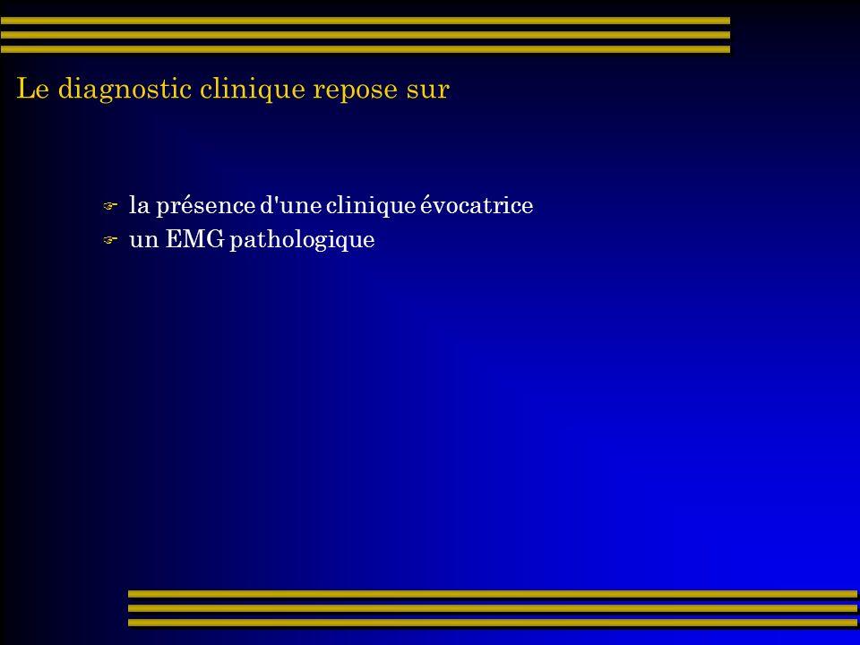 Le diagnostic clinique repose sur la présence d'une clinique évocatrice un EMG pathologique