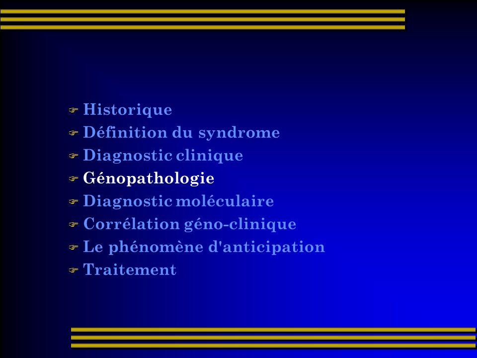 Historique Définition du syndrome Diagnostic clinique Génopathologie Diagnostic moléculaire Corrélation géno-clinique Le phénomène d'anticipation Trai