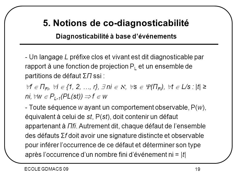 ECOLE GDMACS 09 19 - Un langage L préfixe clos et vivant est dit diagnosticable par rapport à une fonction de projection P L et un ensemble de partitions de défaut ΣП ssi : f П Fi, i {1, 2, …, r}, ni, s (П Fi ), t L/s : |t| ni, w P L-1 (PL(st)) f w - Toute séquence w ayant un comportement observable, P(w), équivalent à celui de st, P(st), doit contenir un défaut appartenant à Пfi.