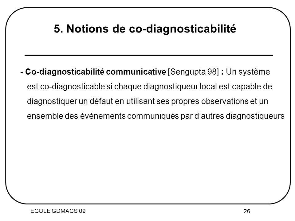 ECOLE GDMACS 09 26 5. Notions de co-diagnosticabilité - Co-diagnosticabilité communicative [Sengupta 98] : Un système est co-diagnosticable si chaque