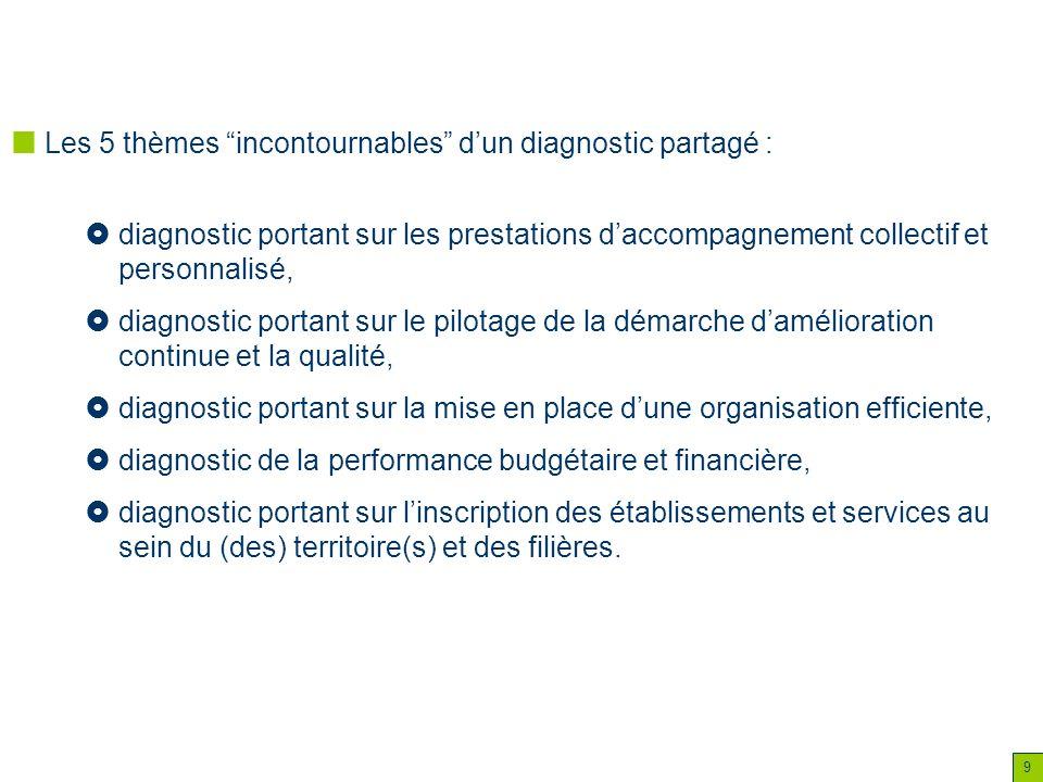 9 Les 5 thèmes incontournables dun diagnostic partagé : diagnostic portant sur les prestations daccompagnement collectif et personnalisé, diagnostic p