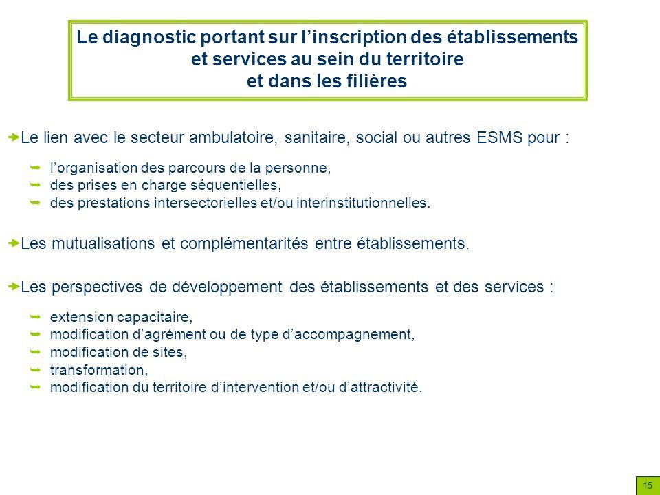 15 Le diagnostic portant sur linscription des établissements et services au sein du territoire et dans les filières lorganisation des parcours de la p