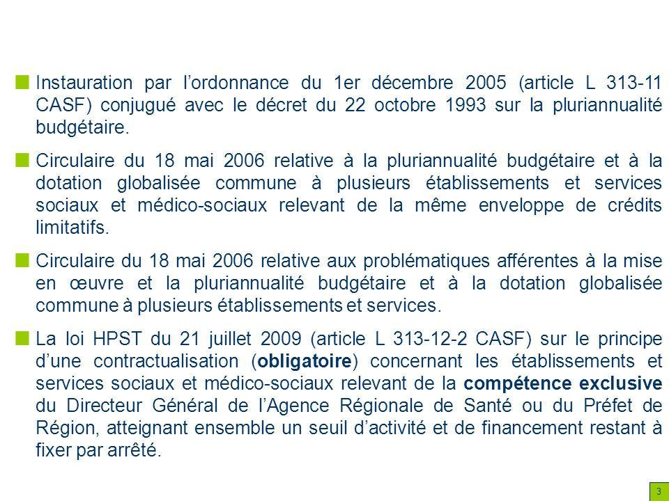 3 Instauration par lordonnance du 1er décembre 2005 (article L 313-11 CASF) conjugué avec le décret du 22 octobre 1993 sur la pluriannualité budgétair